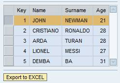 How to export table values to excel in WebDynpro – Anıl